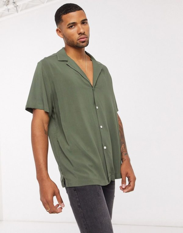 ASOS DESIGN relaxed fit viscose shirt with low revere collar in khaki-Green