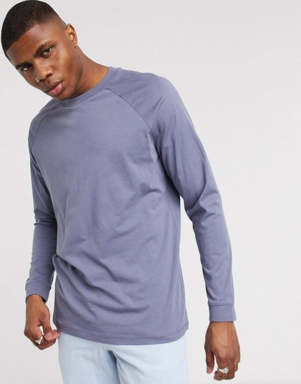 ASOS DESIGN relaxed long sleeve raglan t-shirt with high neck in gray