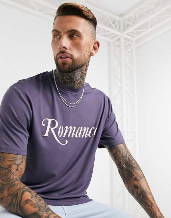 ASOS DESIGN relaxed longline t-shirt with romance text print and curved hem in purple viscose-Black
