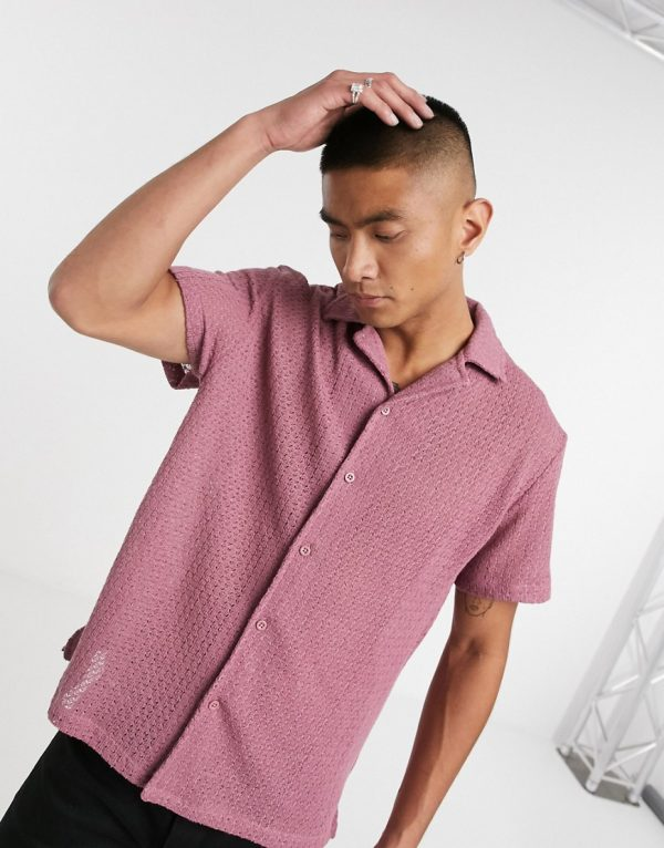 ASOS DESIGN relaxed revere jersey shirt in pink cotton