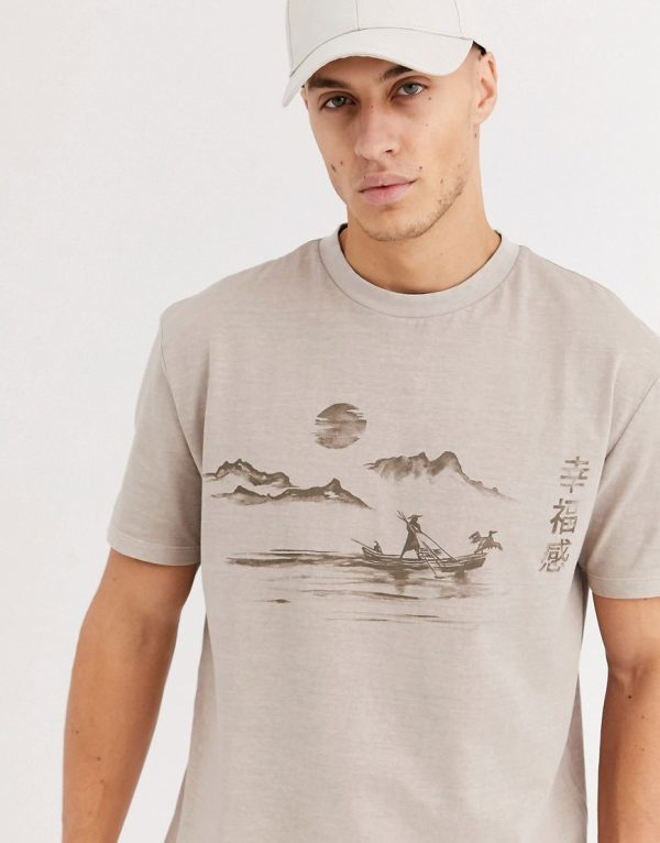 ASOS DESIGN relaxed t-shirt in organic cotton with scene print and wash-Beige
