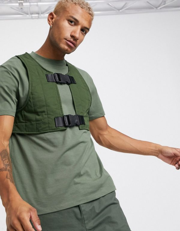 ASOS DESIGN relaxed t-shirt with padded vest in khaki-Green