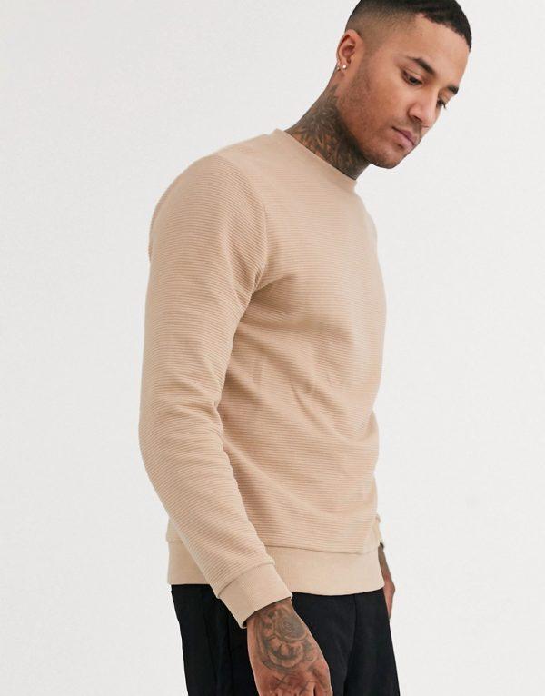 ASOS DESIGN ribbed sweatshirt in beige