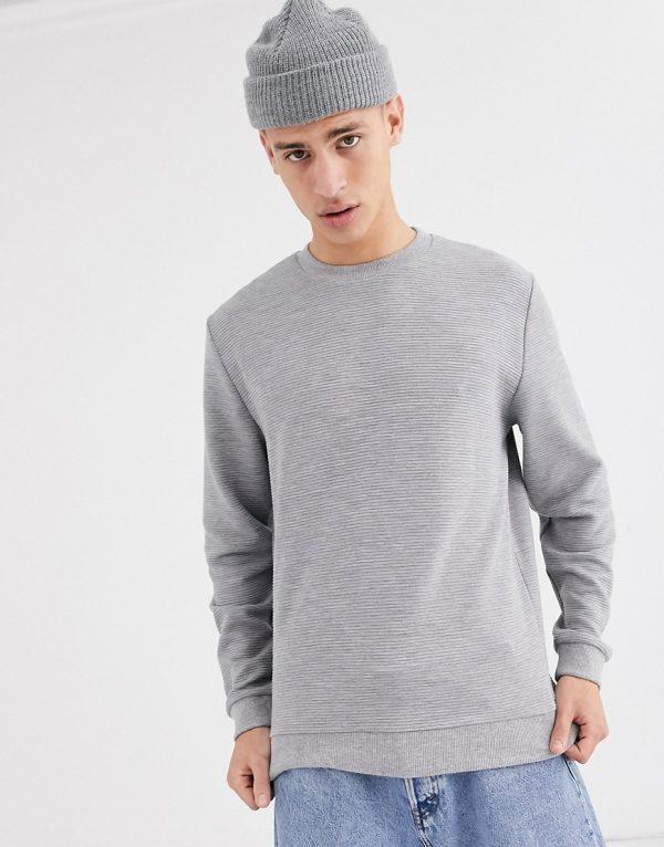 ASOS DESIGN ribbed sweatshirt in gray marl