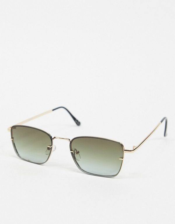 ASOS DESIGN rimless square sunglasses with ombre lens-Gold