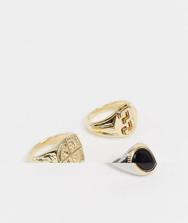 ASOS DESIGN ring pack with black onyx stone and varsity design in silver and gold tone-Multi