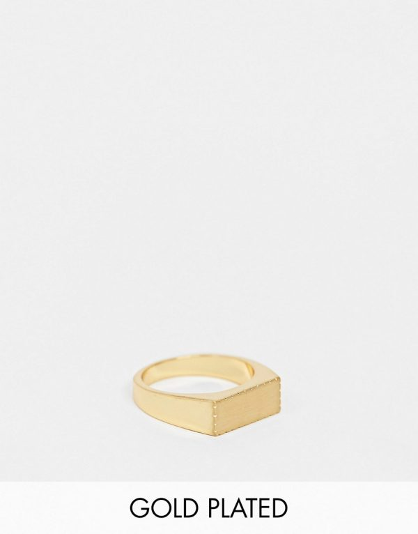 ASOS DESIGN ring with brushed effect in 14k gold plate