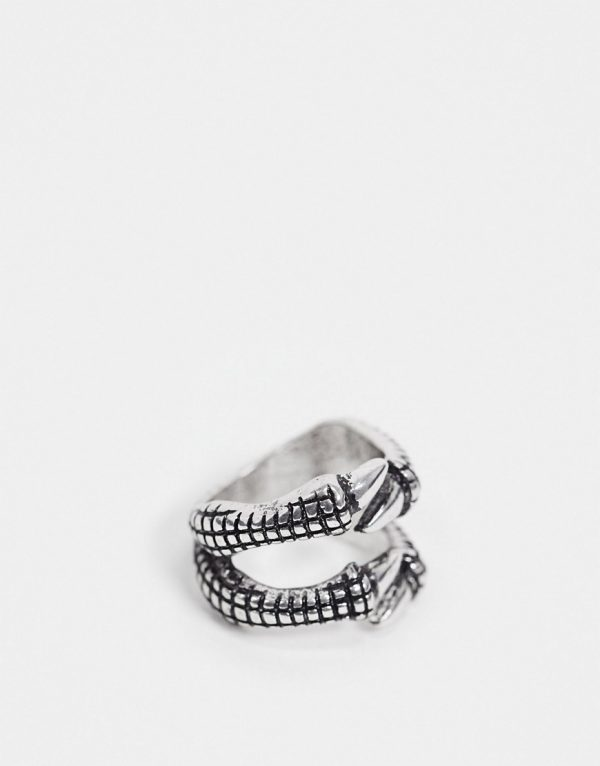 ASOS DESIGN ring with claw design in burnished silver tone