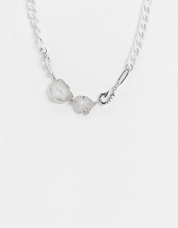 ASOS DESIGN short chunky 13mm neckchain with crystal agate stone slices in white