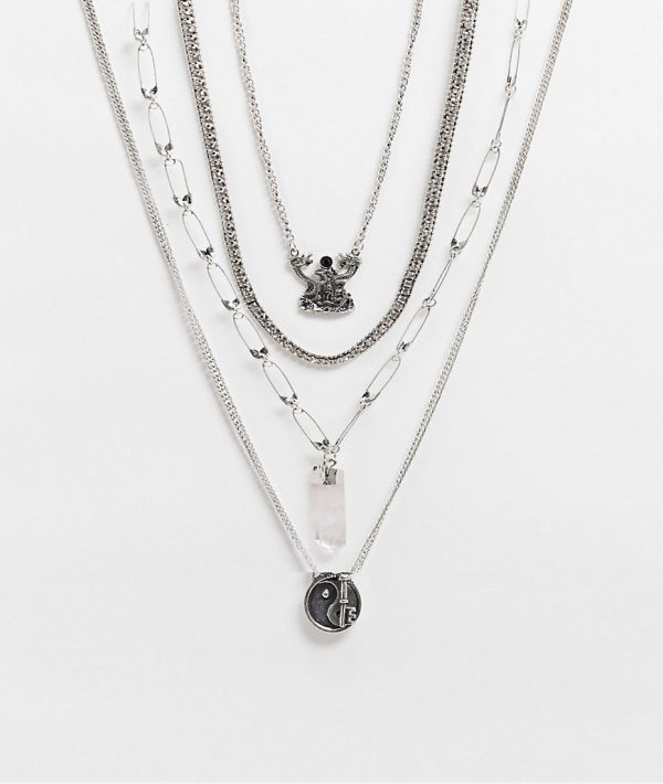 ASOS DESIGN short layered neckchain pack with ying yang charms in burnished silver tone