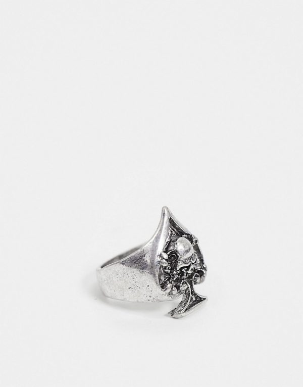 ASOS DESIGN signet ring with ace of spades design in burnished silver tone