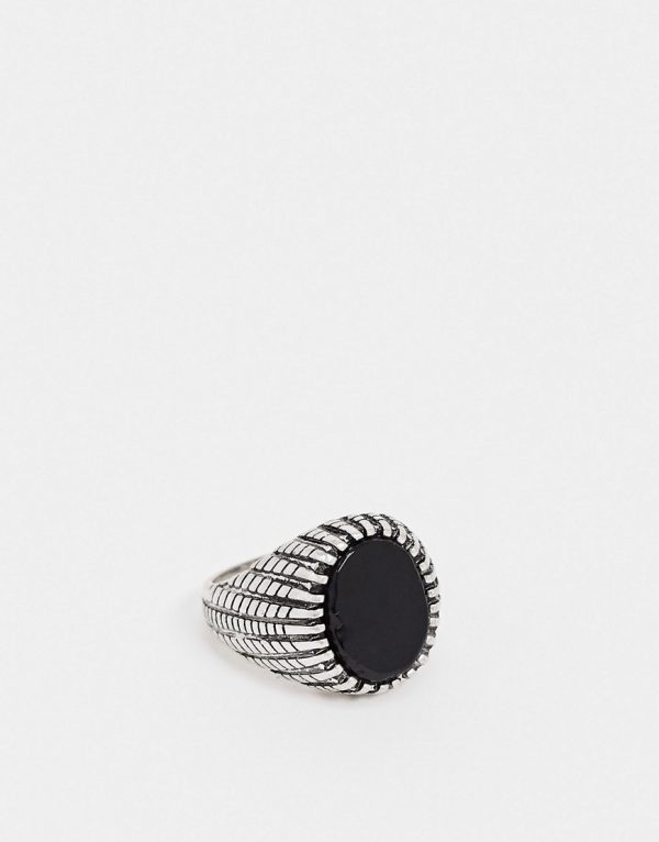 ASOS DESIGN signet ring with black onyx stone in silver tone