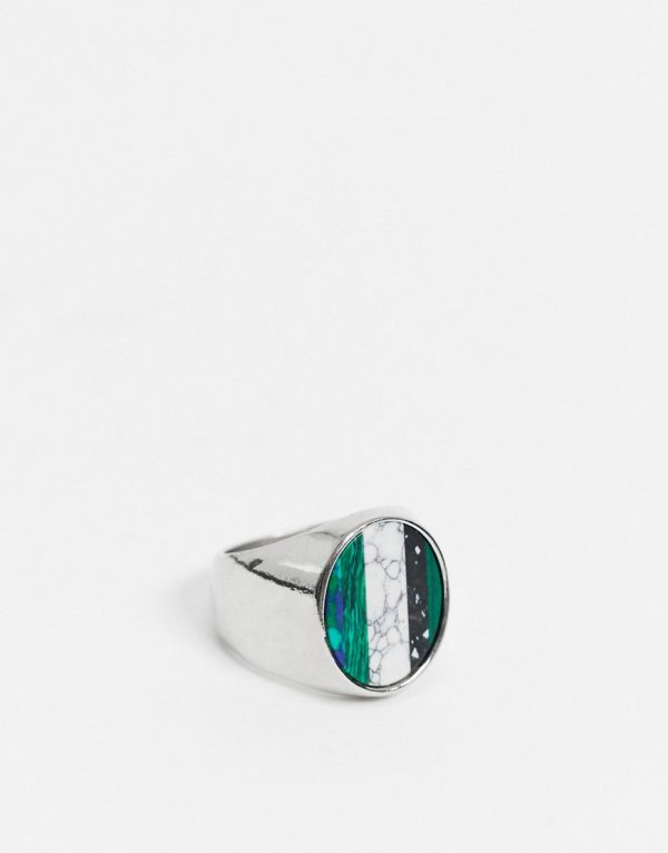ASOS DESIGN signet ring with stripe stone in silver tone