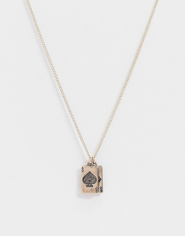 ASOS DESIGN skinny 1.5mm neckchain with playing card charms in gold tone