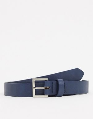 ASOS DESIGN skinny belt in navy faux leather with silver buckle