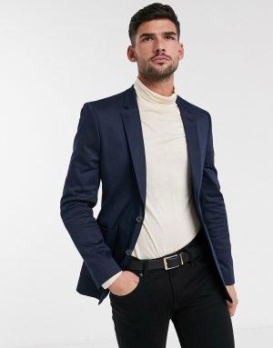 ASOS DESIGN skinny blazer in navy cotton