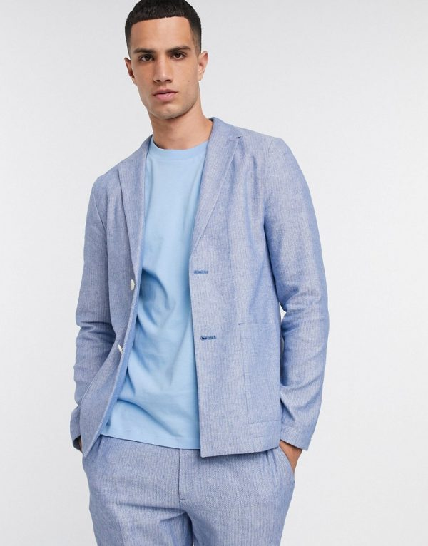 ASOS DESIGN skinny casual linen mix suit jacket in navy and white