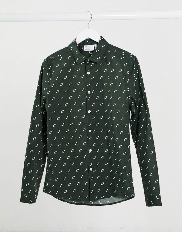 ASOS DESIGN skinny fit geo print shirt in teal-Green