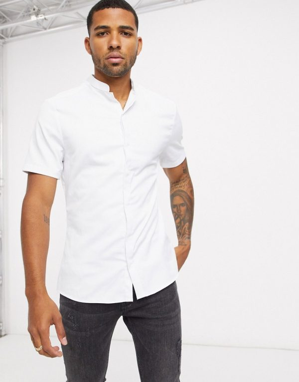 ASOS DESIGN skinny fit sateen shirt with mandarin collar in white with short sleeves