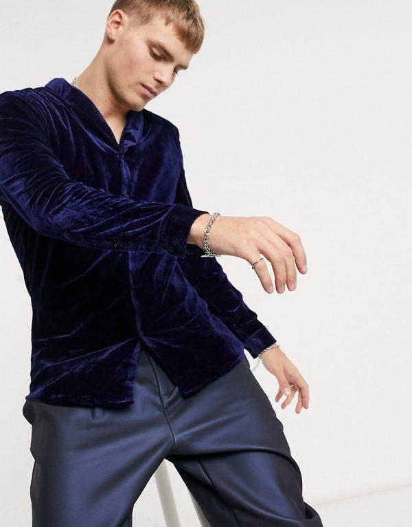 ASOS DESIGN skinny fit velvet shirt with shawl collar in navy