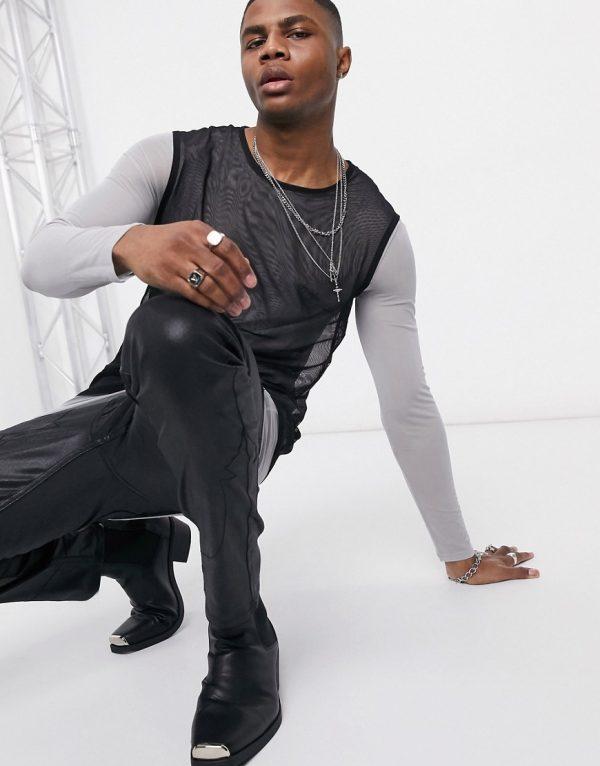 ASOS DESIGN skinny long sleeve t-shirt with tank tank in mesh-Black