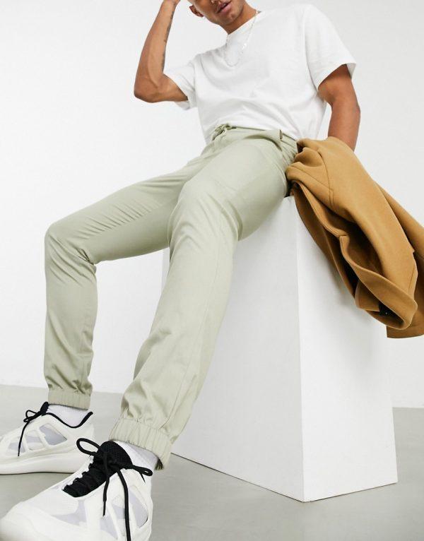 ASOS DESIGN skinny smart sweatpants in stripe-Stone