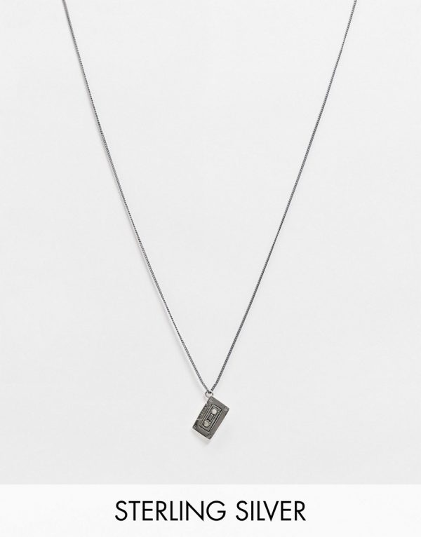 ASOS DESIGN skinny sterling silver 1mm necklace with cassette pendant in burnished silver