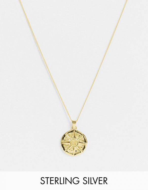 ASOS DESIGN skinny sterling silver 1mm necklace with compass pendant in 14k gold plate