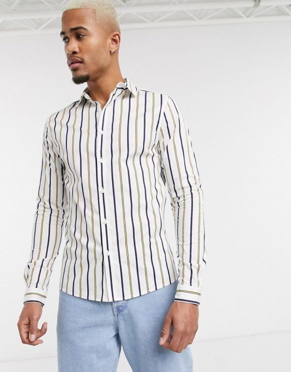 ASOS DESIGN skinny stripe shirt in white