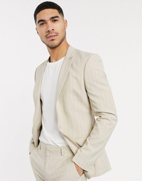 ASOS DESIGN skinny suit jacket in stone pinstripe