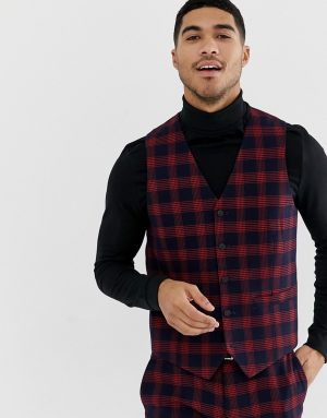 ASOS DESIGN skinny suit vest in check waffle texture-Navy