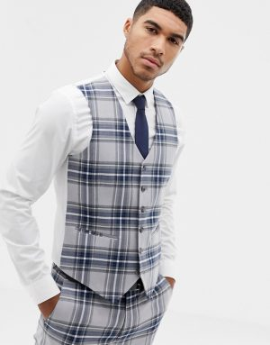 ASOS DESIGN skinny suit vest in gray oversized check