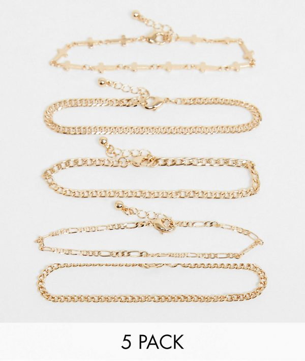 ASOS DESIGN slim bracelet pack with crosses in shiny gold tone
