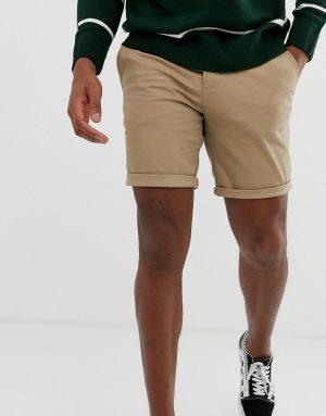 ASOS DESIGN slim chino shorts in stone