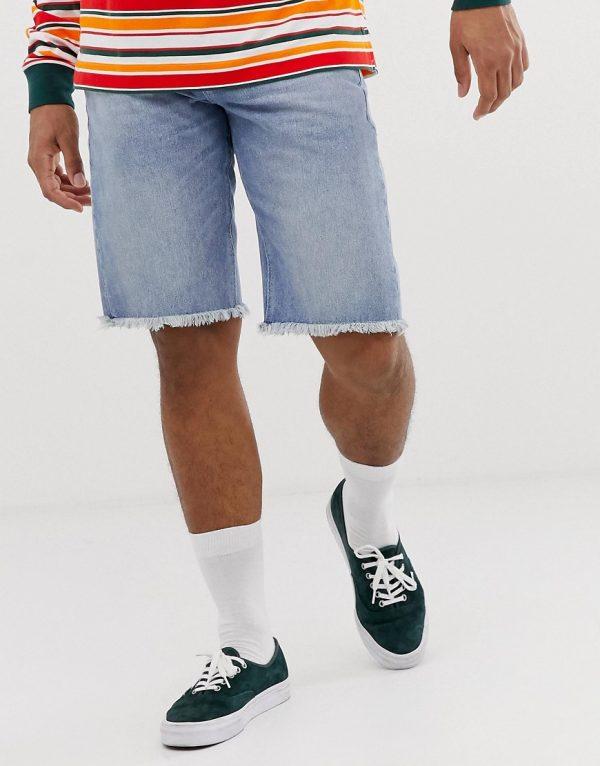 ASOS DESIGN slim denim shorts in longer length vintage light wash-Blue