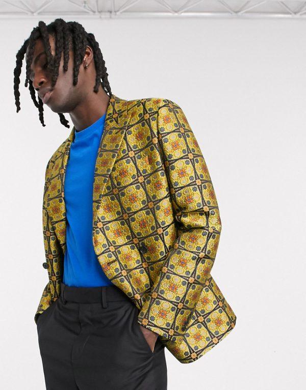 ASOS DESIGN slim double breasted blazer in mustard geo jacquard-Tan