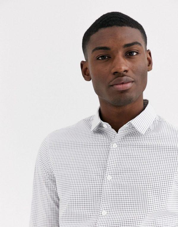ASOS DESIGN slim fit black and white grid shirt