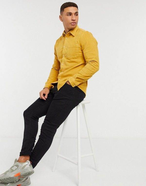 ASOS DESIGN slim fit cord shirt in mustard-Yellow