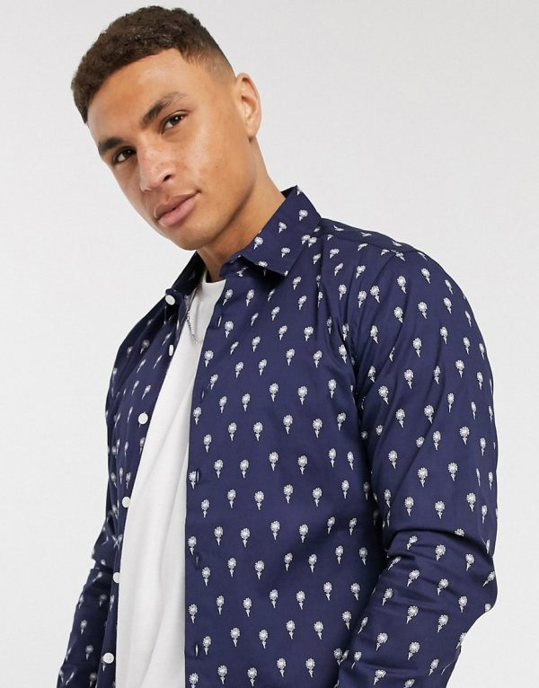 ASOS DESIGN slim fit ditsy print shirt in navy