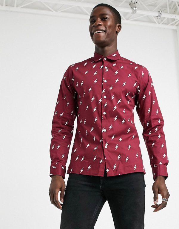ASOS DESIGN slim fit lightning all over print shirt in burgundy-Red