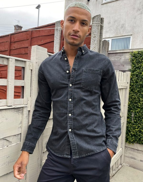 ASOS DESIGN slim fit organic denim shirt in washed black-Gray