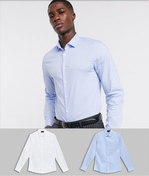 ASOS DESIGN slim fit work shirt 2 pack in white and blue save-Multi