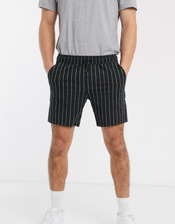 ASOS DESIGN slim shorter shorts in textured stripe-Black