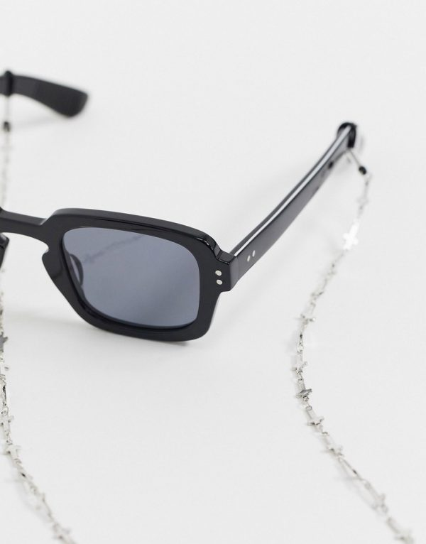 ASOS DESIGN slim sunglasses chain with crosses in burnished silver tone