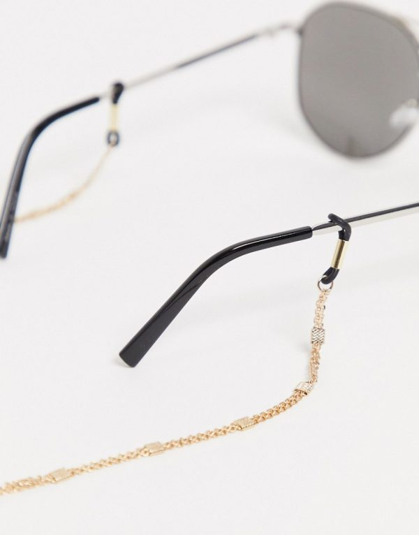 ASOS DESIGN slim sunglasses chain with vintage design in shiny gold tone