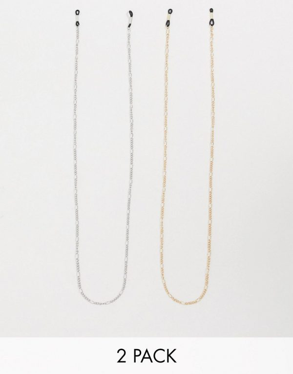 ASOS DESIGN slim sunglasses figaro chain pack in silver and gold tone-Multi