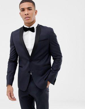 ASOS DESIGN slim tuxedo suit jacket in navy 100% wool