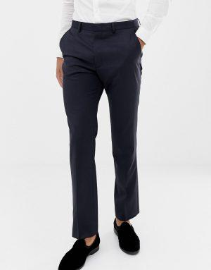 ASOS DESIGN slim tuxedo suit pants in navy 100% wool