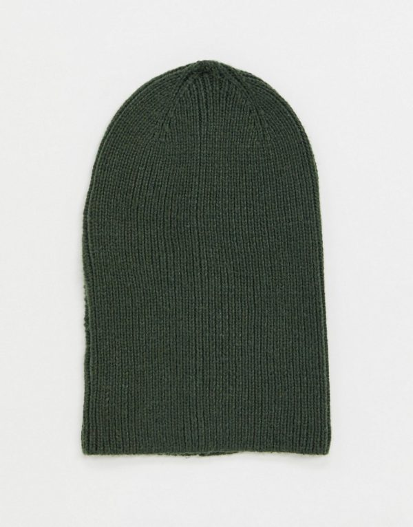 ASOS DESIGN slouchy beanie in olive-Green