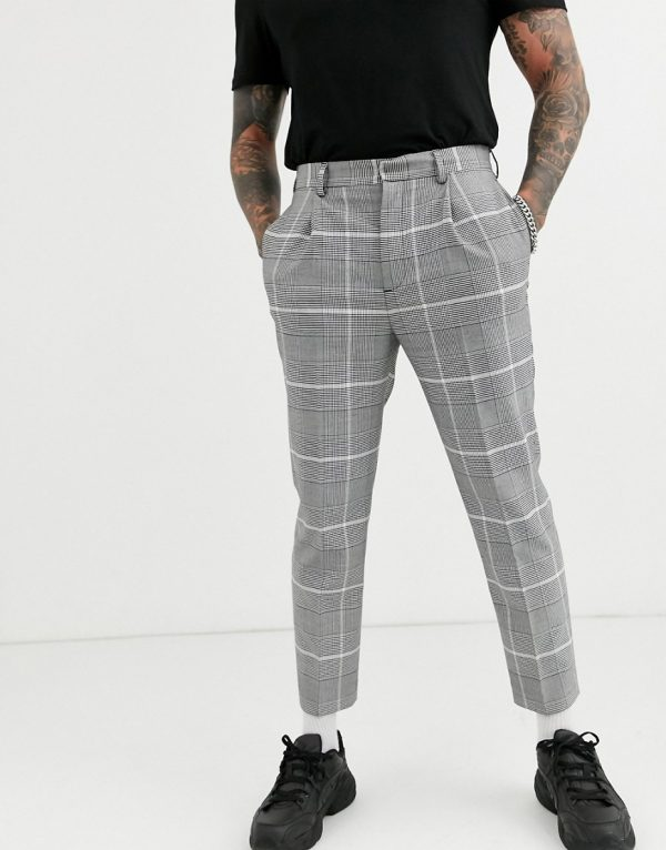 ASOS DESIGN smart tapered pants in oversized gray check